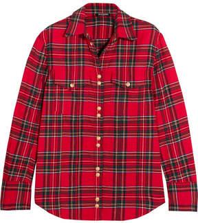 Balmain Button-detailed Tartan Cotton Shirt - Red
