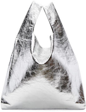 MM6 MAISON MARGIELA Silver Patent Shopping Tote