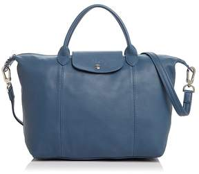 Longchamp Le Pliage Medium Leather Satchel - PILOT BLUE/SILVER - STYLE
