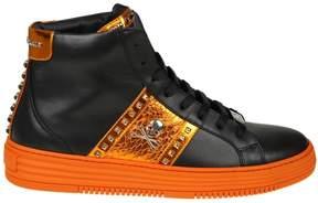 Philipp Plein Hi-top Sneakers In Black And Orange Color