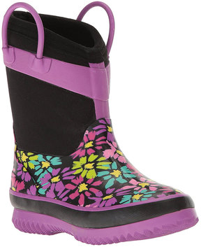 Western Chief Black & Purple Floral Neoprene Rain Boot - Girls