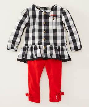 DKNY Black Check Tunic & True Red Jeans - Infant, Toddler & Girls