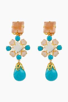 Bounkit Rose Quartz, Clear Quartz & Turquoise Earring Convertible In Four Ways