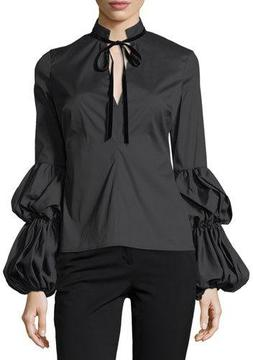 Caroline Constas Yasmin Tiered-Sleeves Tie-Neck Poplin Blouse