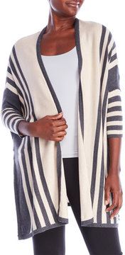 August Silk Striped Open Cardigan