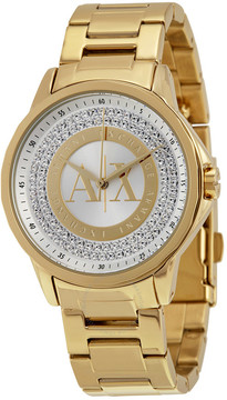Armani Exchange Crystal Dial Gold-tone Ladies Watch