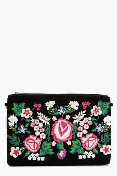 boohoo Ava Embroidered Clutch Bag
