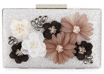 Neiman Marcus 3-D Floral Fabric Evening Box Clutch Bag