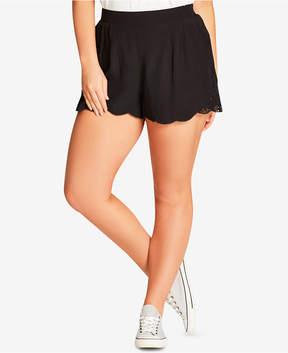 City Chic Trendy Plus Size Lace-Trim Shorts