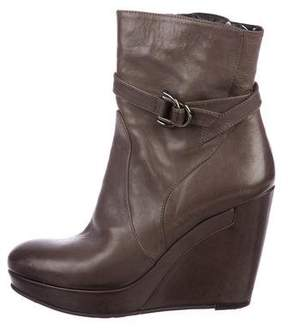 Alberto Fermani Leather Wedge Boots