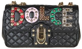 Dolce & Gabbana Leather Lucia Shoulder Bag With Patch - BLACK - STYLE
