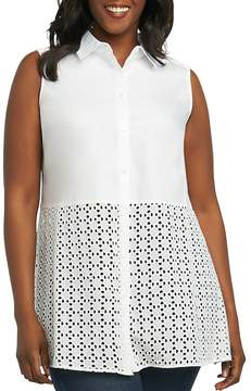 Foxcroft Plus Shelly Eyelet-Trimmed Shirt