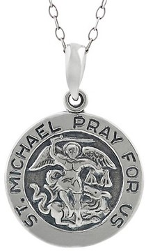Journee Collection Women's St. Michael Pray For Us Pendant Necklace in Sterling Silver - Silver (18)