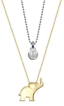 Alex Woo Little Luck 14K Yellow Gold Diamond Elephant & Ladybug 2-Piece Necklace Set - 0.01 ctw