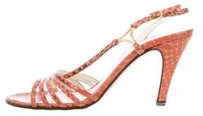 Bruno Magli Snakeskin Multistrap Sandals