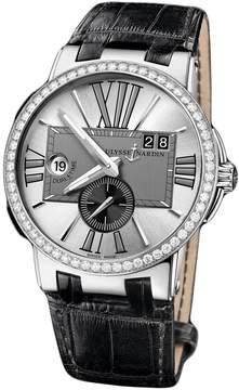 Ulysse Nardin Executive Dual Time Silver Dial Diamond Bezel Black Leather Men's Watch 243-00B-421