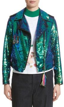 Mira Mikati Women's Scout Patch Sequin Biker Jacket