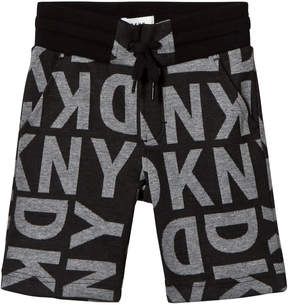 DKNY Black All Over Branded Sweat Short