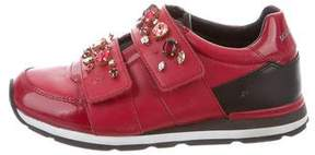 Dolce & Gabbana Girls' Leather Jewel-Embellished Sneakers