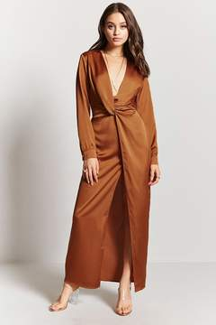 Forever 21 Satin Ruched Maxi Dress