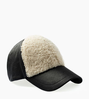 UGG Women's Curly Pile Leather Baseball Hat