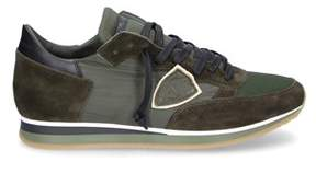 Philippe Model Men's Green Suede Sneakers.