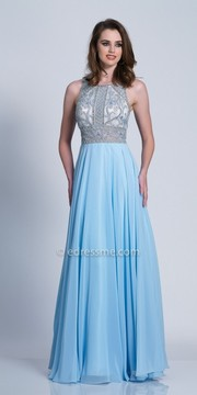 Dave and Johnny Sleeveless Cutout Beaded A-line Prom Dress