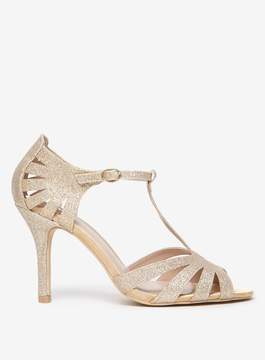 Dorothy Perkins Wide Fit Gold Glitter 'Beth' Sandals