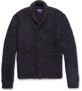 Ralph Lauren Purple Label Shawl-Collar Mélange Wool, Alpaca And Linen-Blend Cardigan