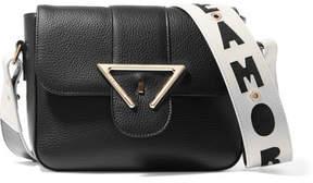 Sara Battaglia Amore Textured-leather Shoulder Bag - White
