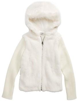 Splendid Girl's Faux Fur Hoodie