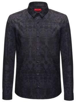 HUGO Boss Rorschach-Print Cotton Sport Shirt, Extra Slim Fit Ero L Dark Blue