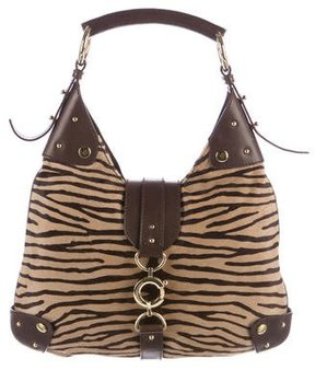 Dolce & Gabbana Leather-Trimmed Ponyhair Hobo - ANIMAL PRINT - STYLE
