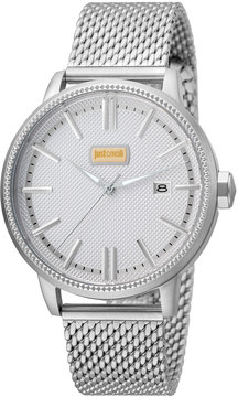 Just Cavalli 42mm Men's Relaxed Patch Watch w/ Bracelet, Steel