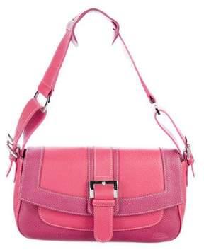 Longchamp Grained Leather Flap Shoulder Bag