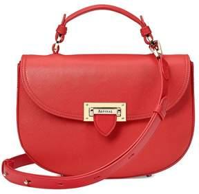 Aspinal of London | Letterbox Saddle Bag In Dahlia Saffiano | Dahlia saffiano
