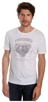 Lucky Brand Mens Military Bear Graphic T-Shirt Beige L