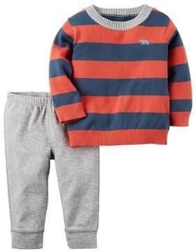Carter's Infant Boys 2-Piece Striped Sweater & Pant Set 3m