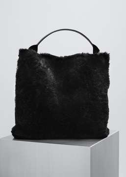 Jil Sander black shearling xiao bag
