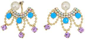 Betsey Johnson Pearl and Rhinestone Front Back Earrings Earring