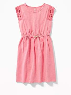 Old Navy Cinched-Waist Crochet-Sleeve Dress for Girls
