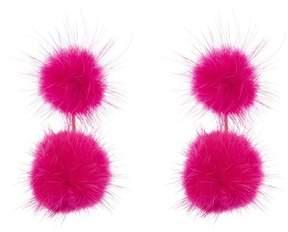 BaubleBar Gigi Genuine Dyed Marten Fur Pompom Drop Earrings