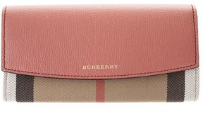 Burberry Leather & Check House Fabric Continental Wallet - RED - STYLE