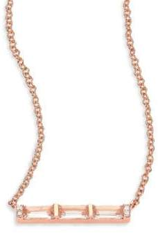 Ef Collection Diamond, White Topaz Baguette & 14K Rose Gold Mini Bar Necklace