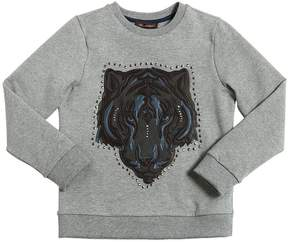 Roberto Cavalli Cotton Sweatshirt W/ Leather Patches