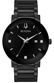 Bulova Men's Black Stainless Bracelet Diamond Accent Watch