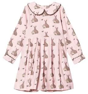 Rachel Riley Pink Bunny Print Dress with Peter Pan Collar