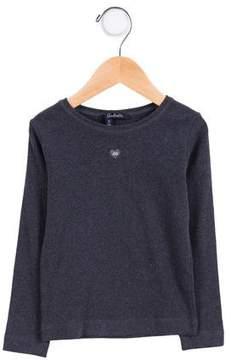Lili Gaufrette Girls' Knit Logo Heart Top