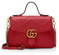 Gucci Marmont Leather Top Handle Bag - RED ORANGE - STYLE