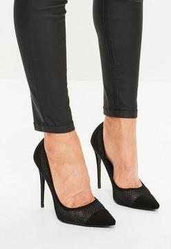 Missguided Black Mesh Pointed Pumps